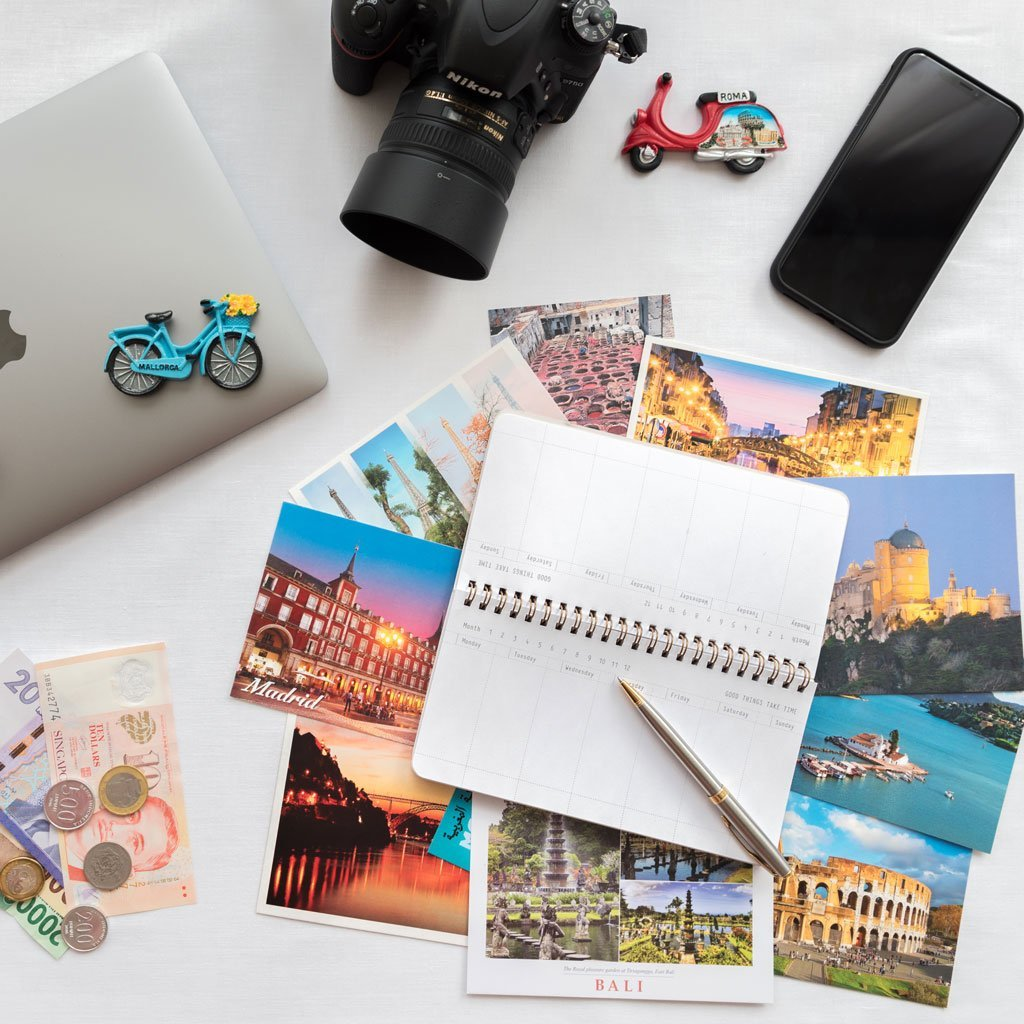 Postales, Macbook Pro, Camara foto, iPhone XS Max y consejos para viaje del blog We Collect Postcards