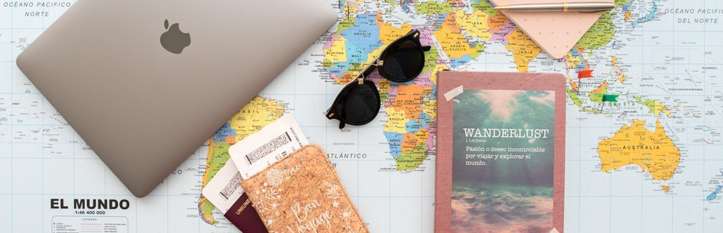 We Collect Postcards blog map, camera, sunglasses and travel tools