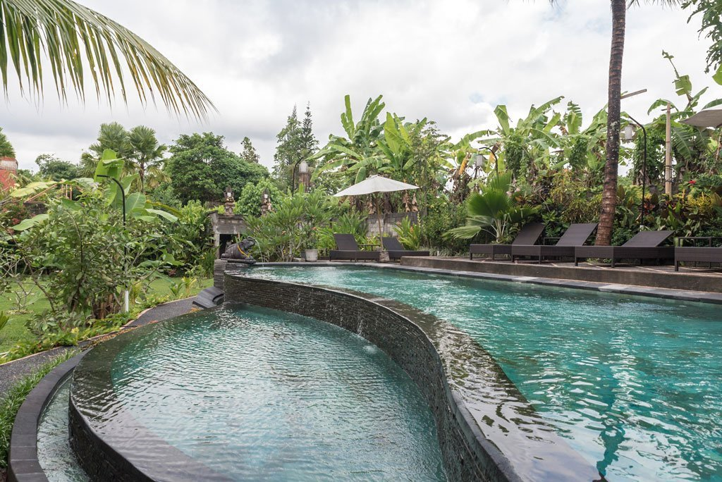 Infinite swimming pool in Bucu Guest House - Ubud, Bali