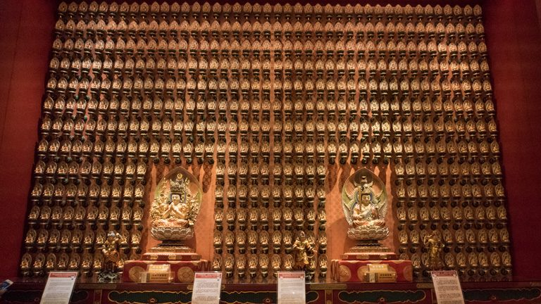 Decoration inside the Buddha temple Tooth Relic Temple, Singapore