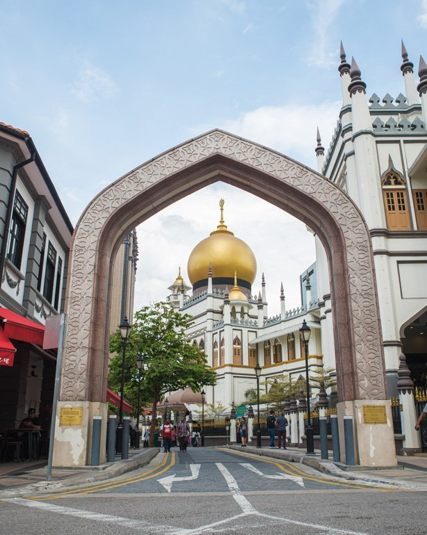 Entrance to the Arab quarter with the Sultan Mosque in the background