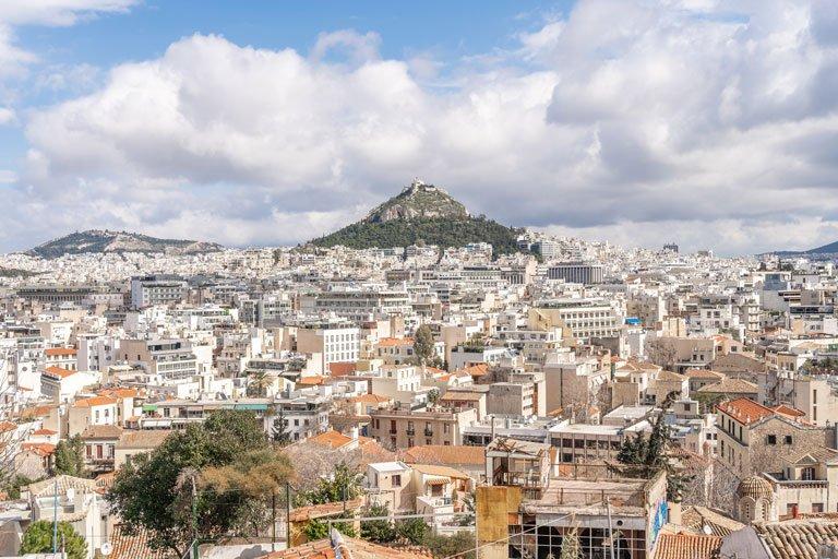 Vista panoramica del Monte Licabeto en Atenas, Grecia