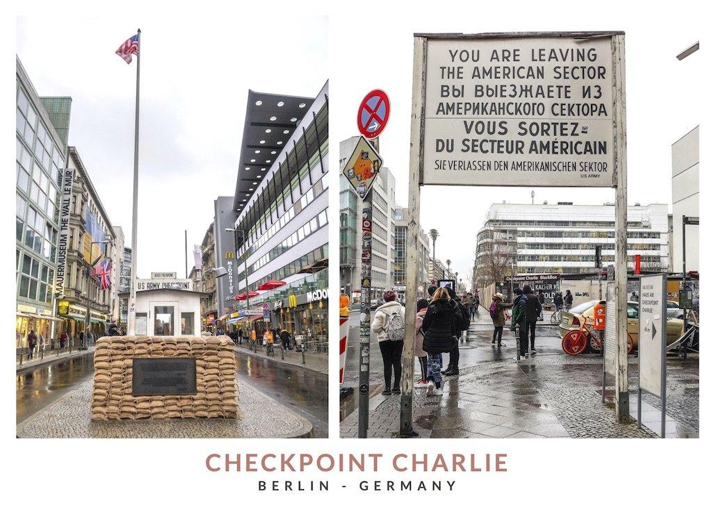 Postal con dos imágenes de Check Point Charlie en Berlin