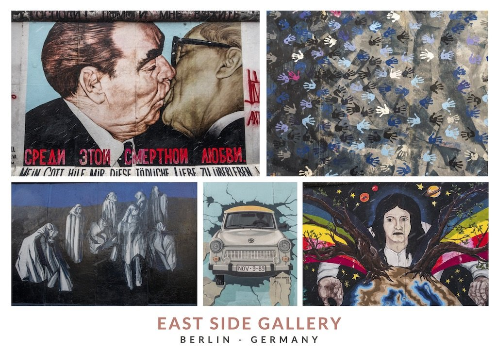 Postal con distintos murales de East Side Gallery en Berlin