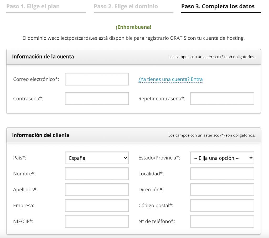 Crear cuenta hosting Siteground