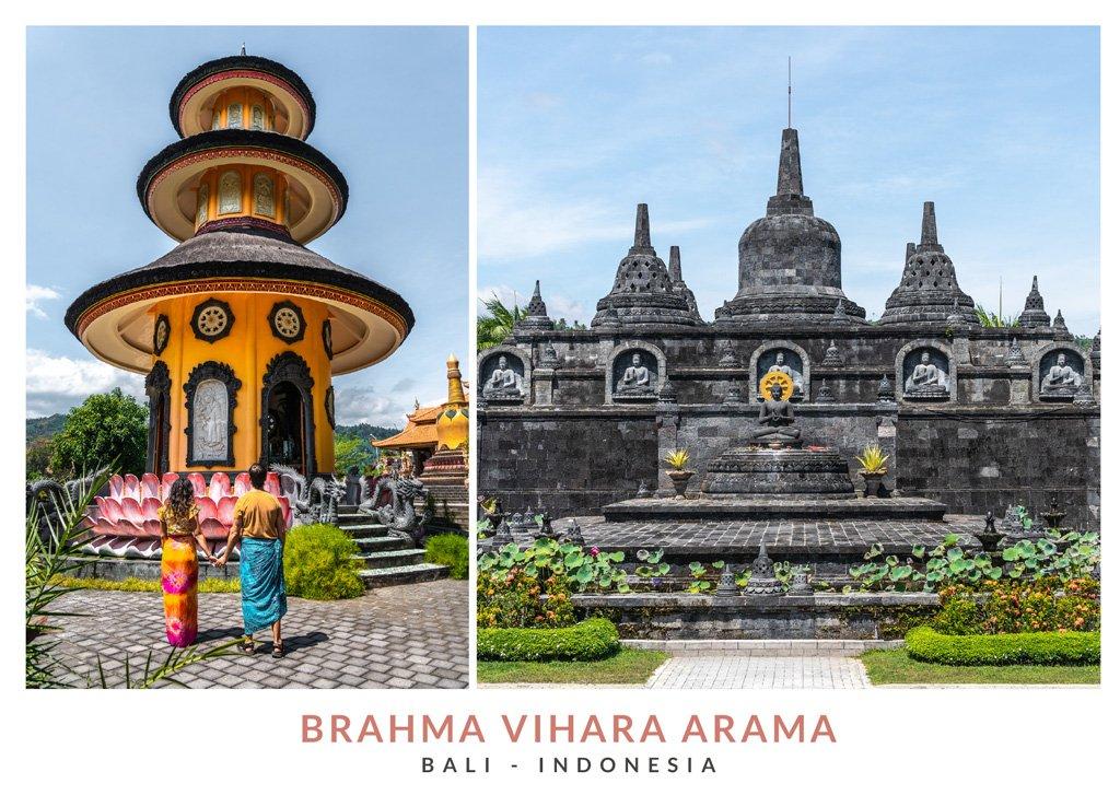 Postal con dos fotos del templo Brahma Vihara Arama, Bali - Indonesia