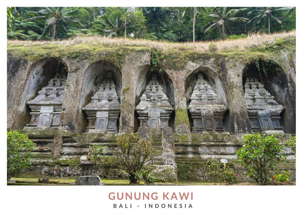 Postal con una imagen del templo Gunung Kawi, Bali - Indonesia