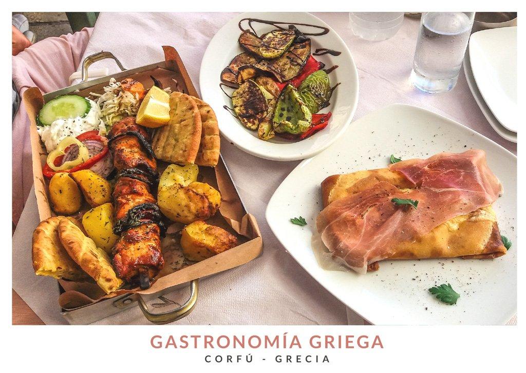 Postal con una imagen de comida griega