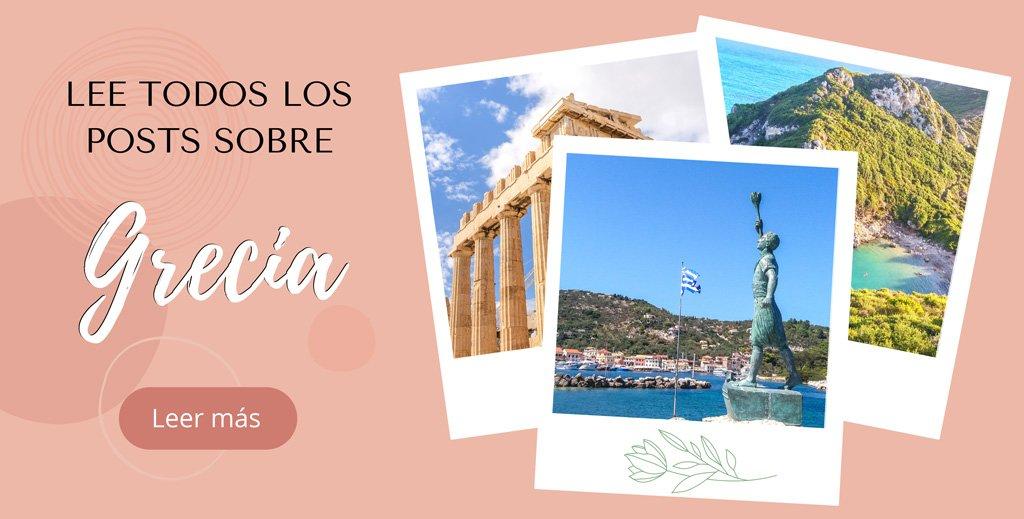 Imagen con varias fotos de Grecia y texto lee más sobre Grecia, blog We Collect Postcards