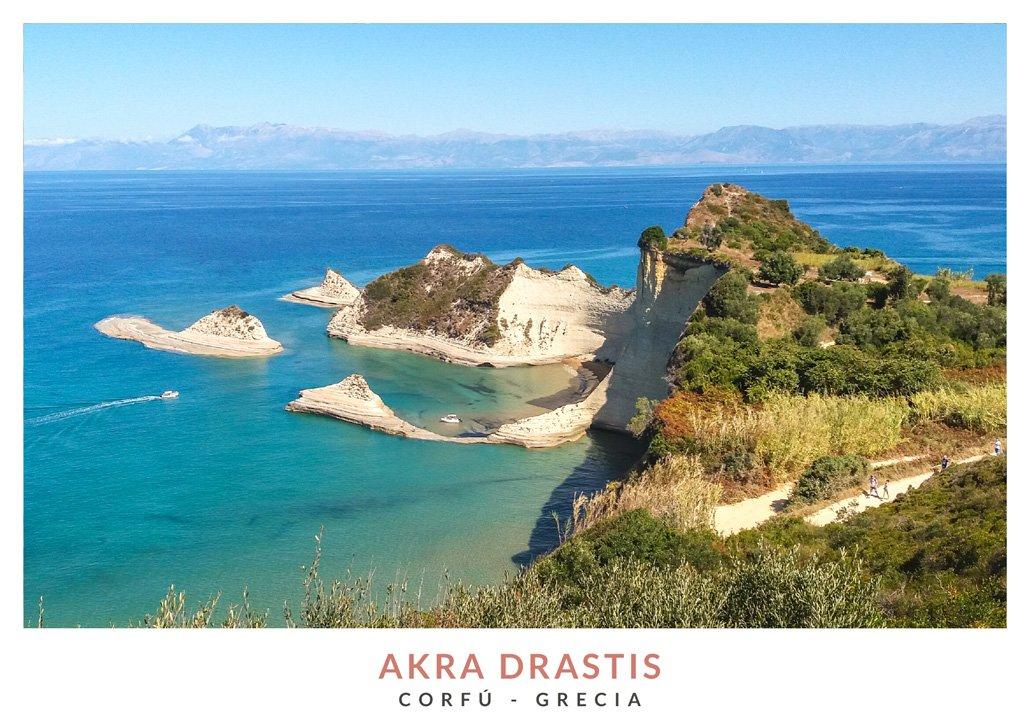 Postal con una imagen de Akra Drastis en Corfú, Grecia