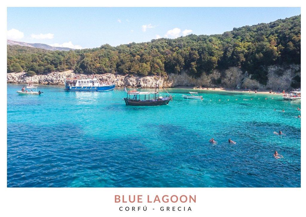 Postal con una imagen de Blue Lagoon en Corfú, Grecia