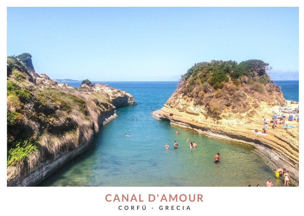 Postal con una imagen del Canal d'Amour en Corfú, Grecia