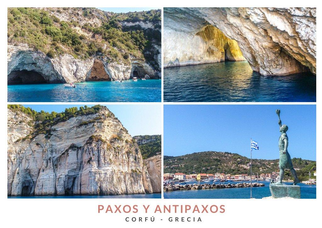 Postal con varias imágenes de las Islas Paxos y Antipaxos en Grecia