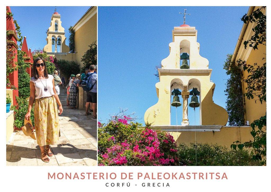 Postal con dos imágenes del Monasterio de Paleokastritsa en Corfú, Grecia