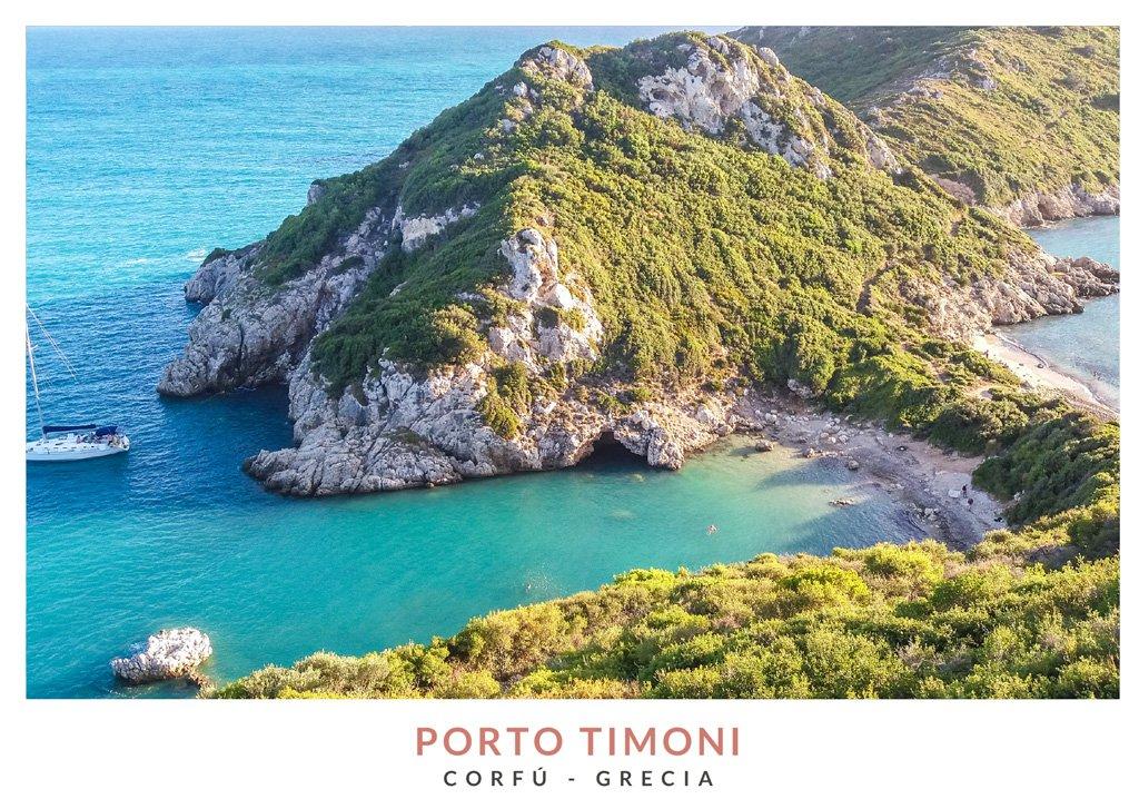 Postal con una imagen de Porto Timoni en Corfú, Grecia