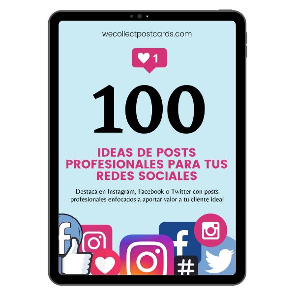 Guía 100 ideas de posts profesionales para tus redes sociales