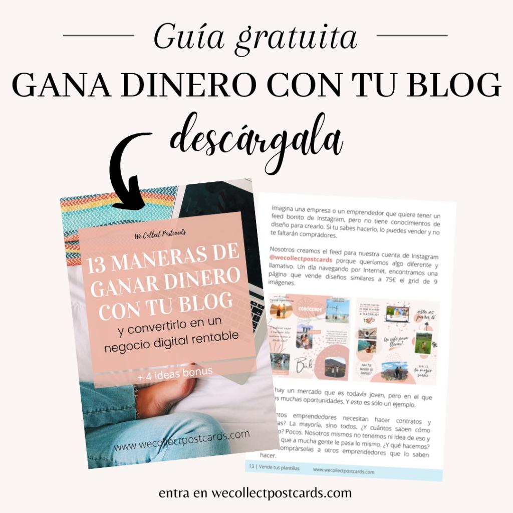 Guía gratuita 13 maneras de ganar dinero con tu blog
