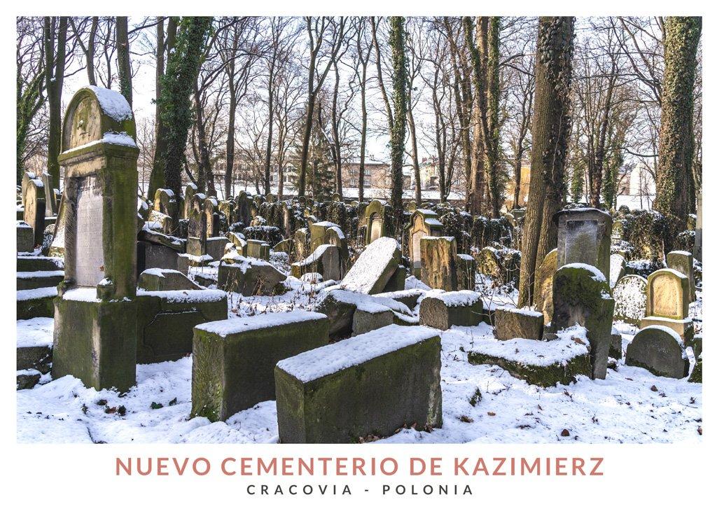 Postal con una imagen del Nuevo Cementerio Judío de Kazimierz, Cracovia