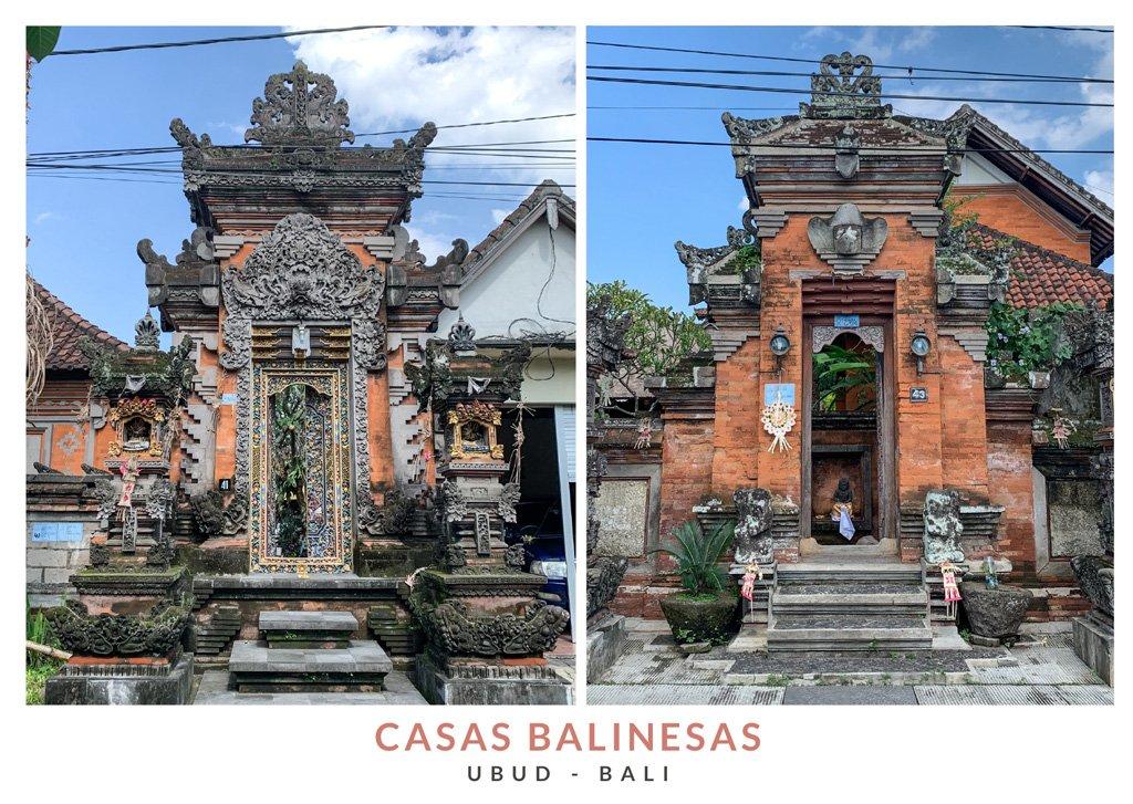 Postal con dos imágenes de casas tradicionales balinesas