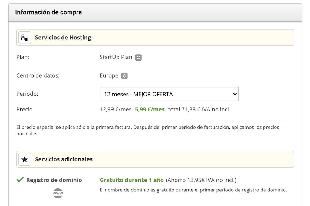 Contratar el hosting con Siteground