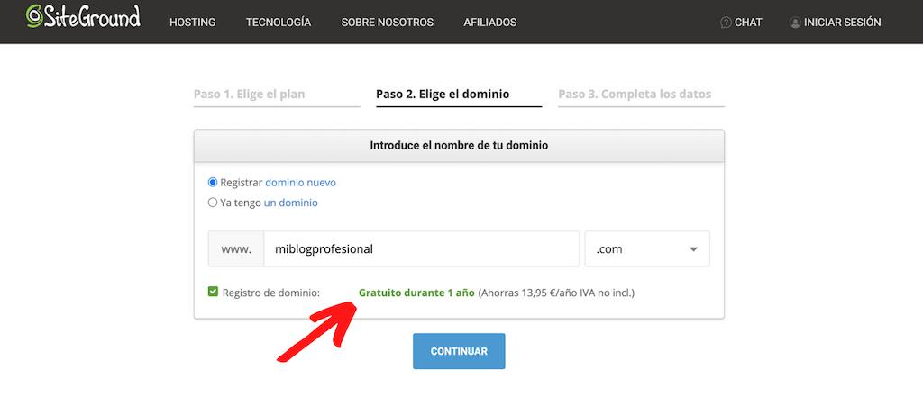 Consigue tu dominio gratis con Siteground