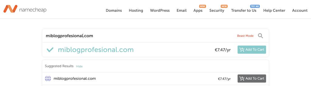 Registra tu dominio en NameCheap
