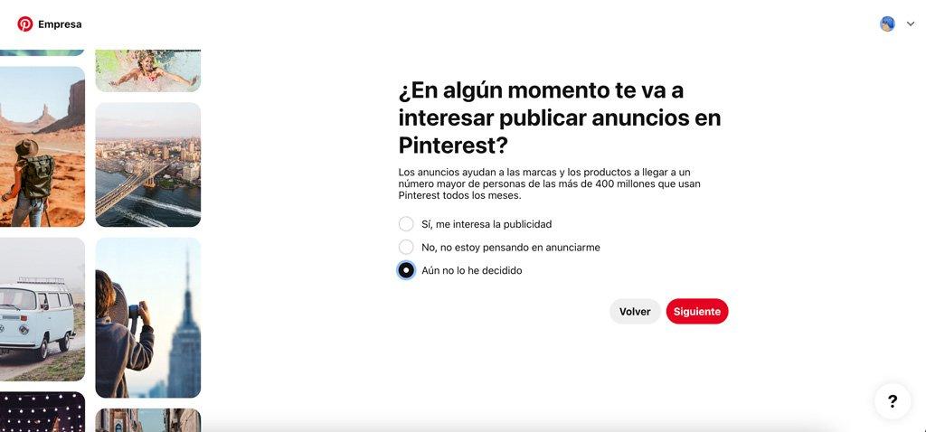 Detalles al crear una cuenta de Pinterest Business