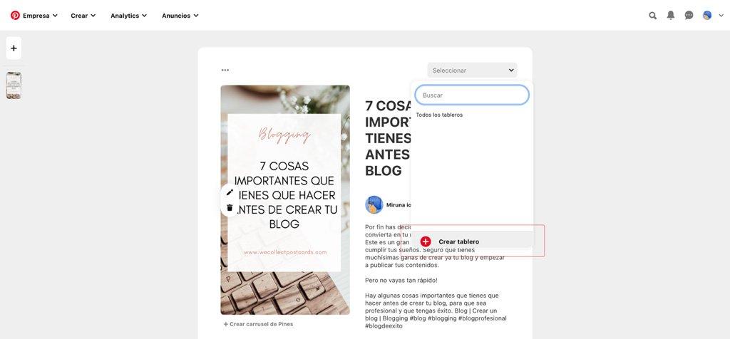 Cómo crear un tablero nuevo en Pinterest
