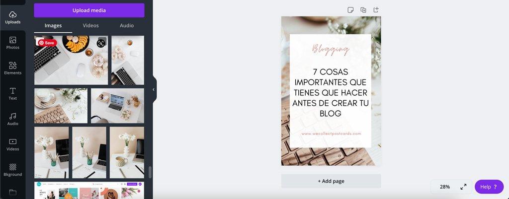 Diseño de pin para Pinterest creado en Canva