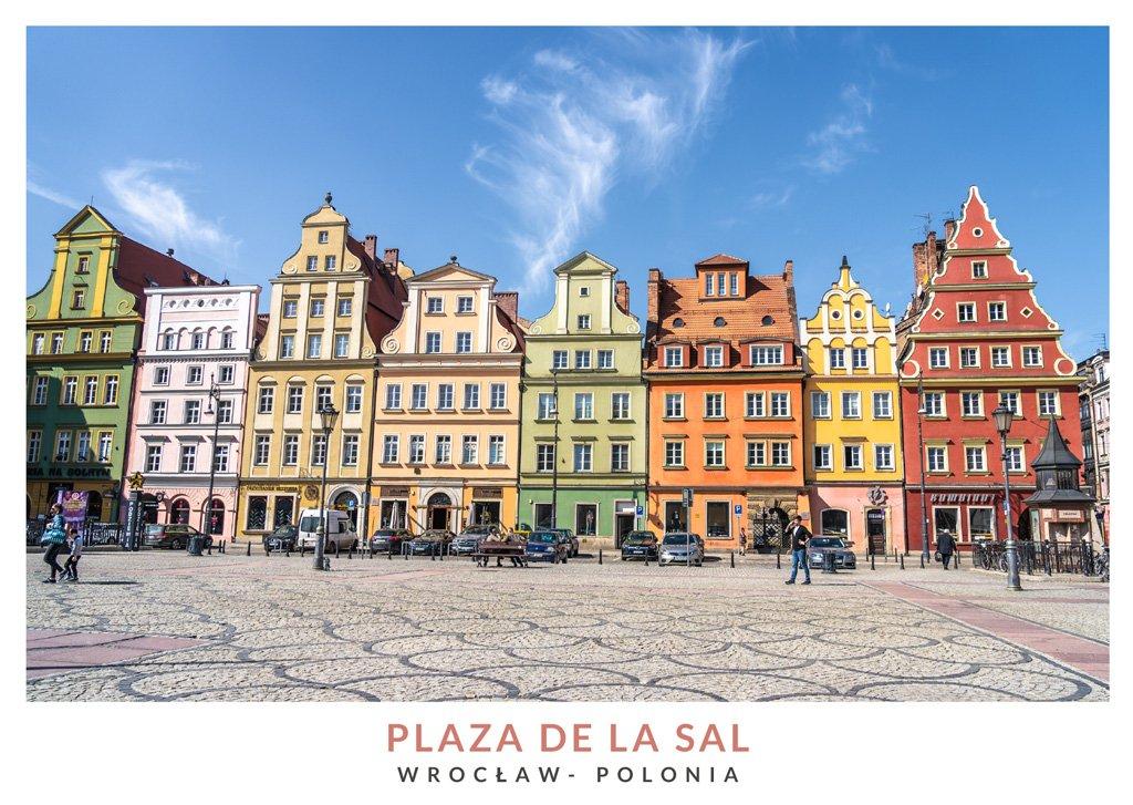 Casas coloridas en la Plaza de la Sal en Breslavia, Polonia