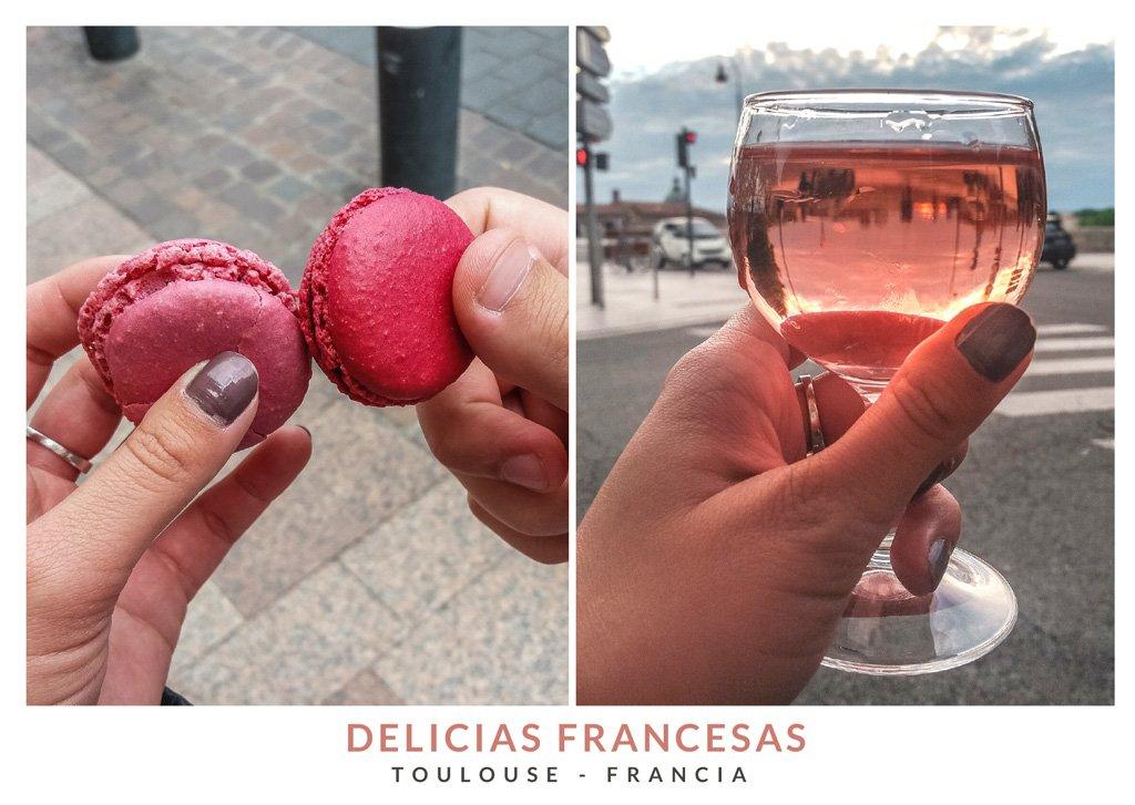 Macarrón de violeta y un vaso de vino rosado en Toulouse, Francia