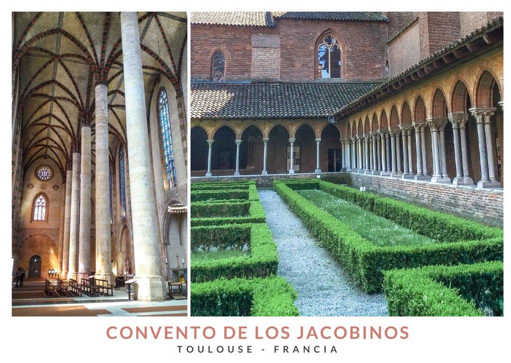 Postal con dos imagenes del interior y del patio central del Convento de los Jacobinos, Toulouse