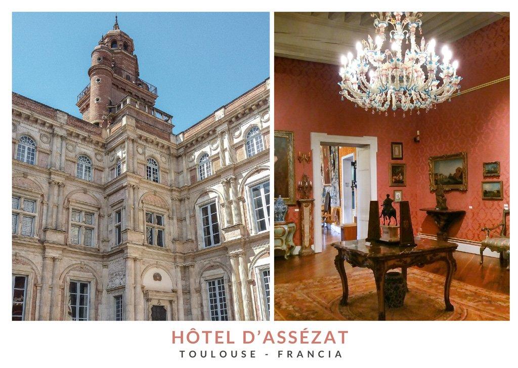 Postal con dos imágenes del interior y exterior del Hôtel d'Assézat de Toulouse