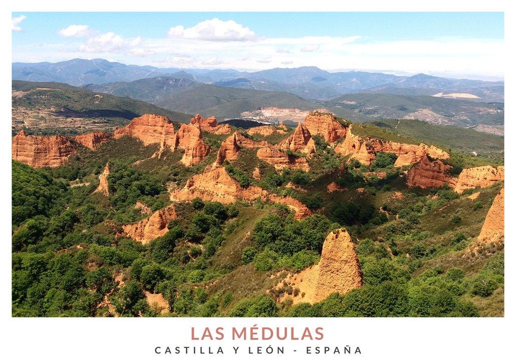 Vista de Las Médulas desde el Mirador de Orellán en Castilla y León