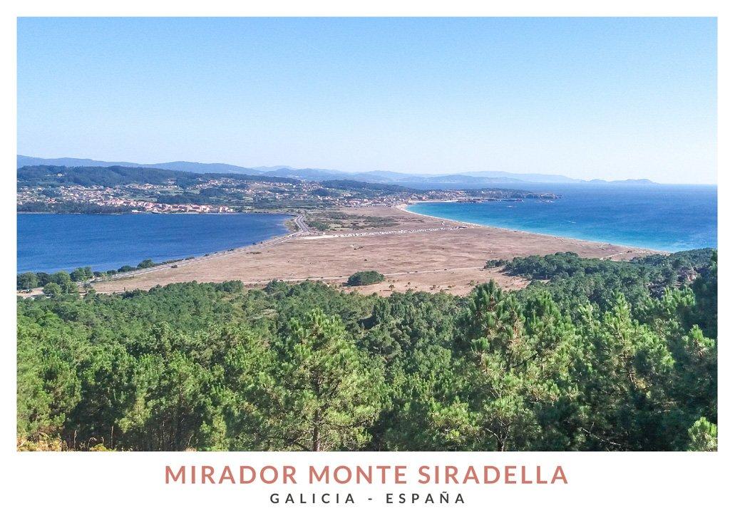 Vista de la Playa de la Lanzada desde el Mirador de Monte Siradella, Galicia