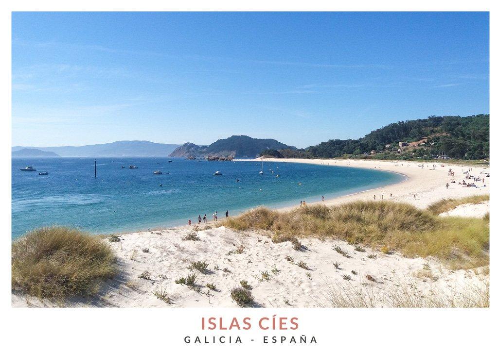 Vista de la Playa de Rodas en las Islas Cíes, Galicia