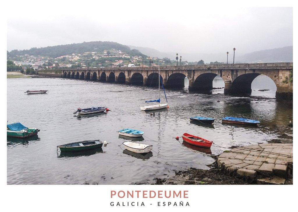 Vista del puerto y el puente de Pontedeume, Galicia
