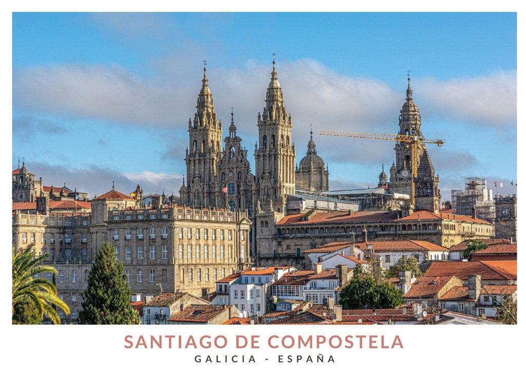 Visas de la ciudad y la catedral de Santiago de Compostela, Galicia