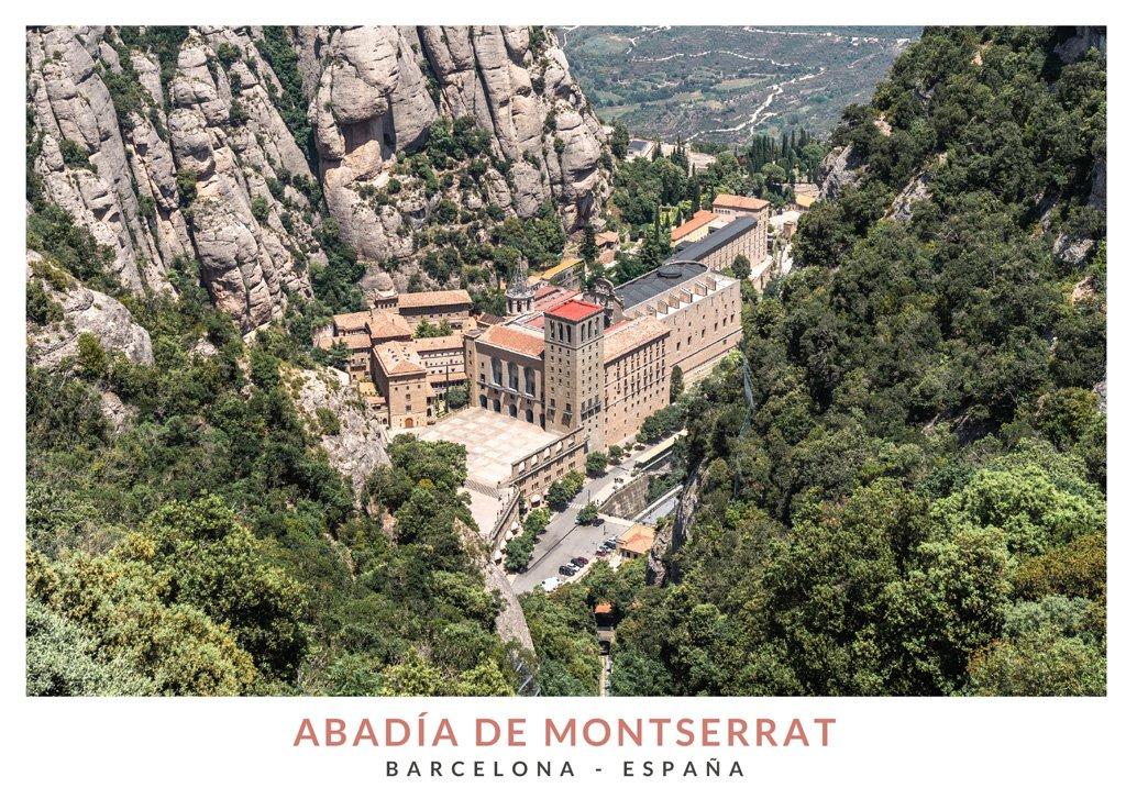 Vista panoramica de la Abadía de Montserrat, Barcelona, Cataluña