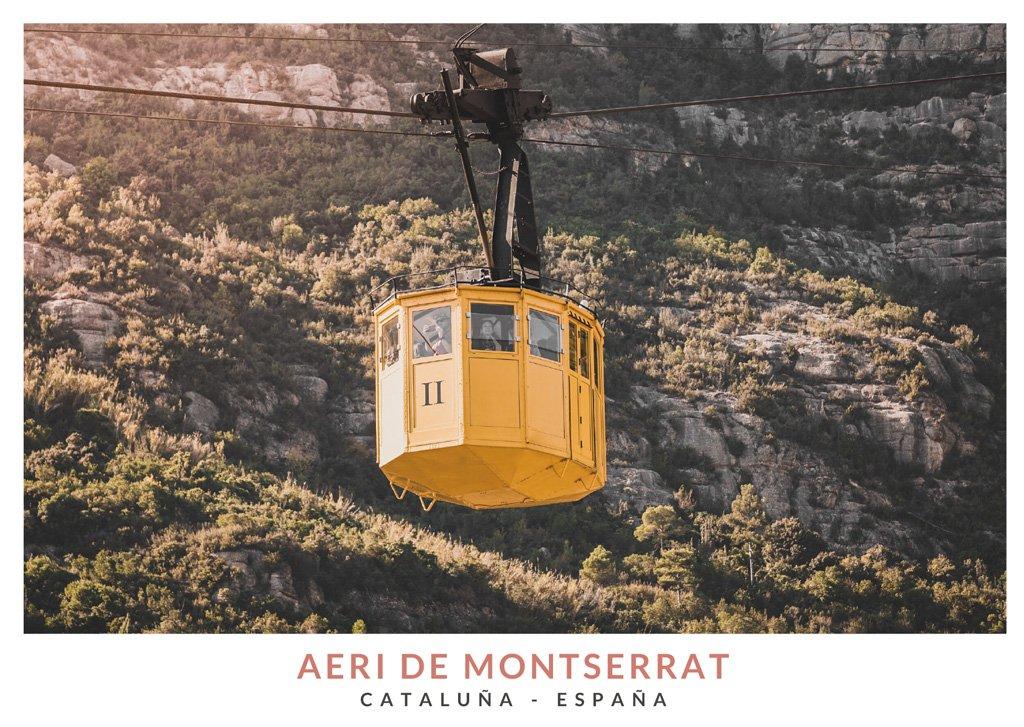 Aeri de Montserrat, teleférico amarillo en la montaña de Montserrat
