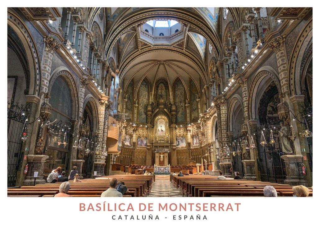Interior de la Basílica de Montserrat, Cataluña - España