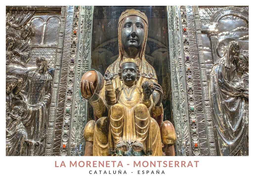 Talla de madera de la Moreneta, la Virgen negra de Montserrat