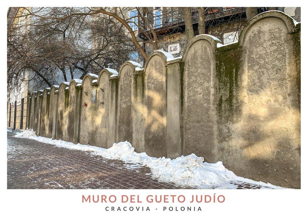 Parte del muro del gueto judío de Cracovia, Polonia