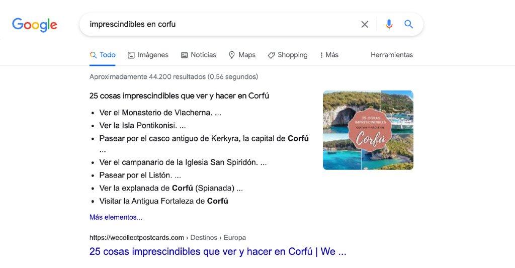 Artículo 25 cosas impreescindibles que ver y hacer en Corfú de We Collect Postcards posicionado en la primera página de Google