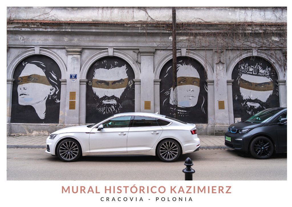 Mural histórico en Kazimierz, el barrio judío de Cracovia