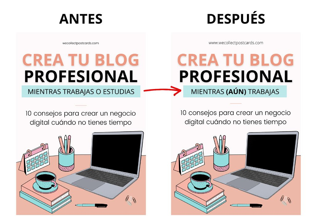 Antes y después guía Crea tu blog mientras (aún) trabajas