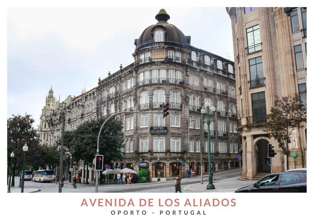 Edificio modernista del Hotel Aliados en la Avenida de los Aliados, Oporto